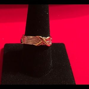 Two Tone 925 Silver & 18k Gold Plated Ring 10